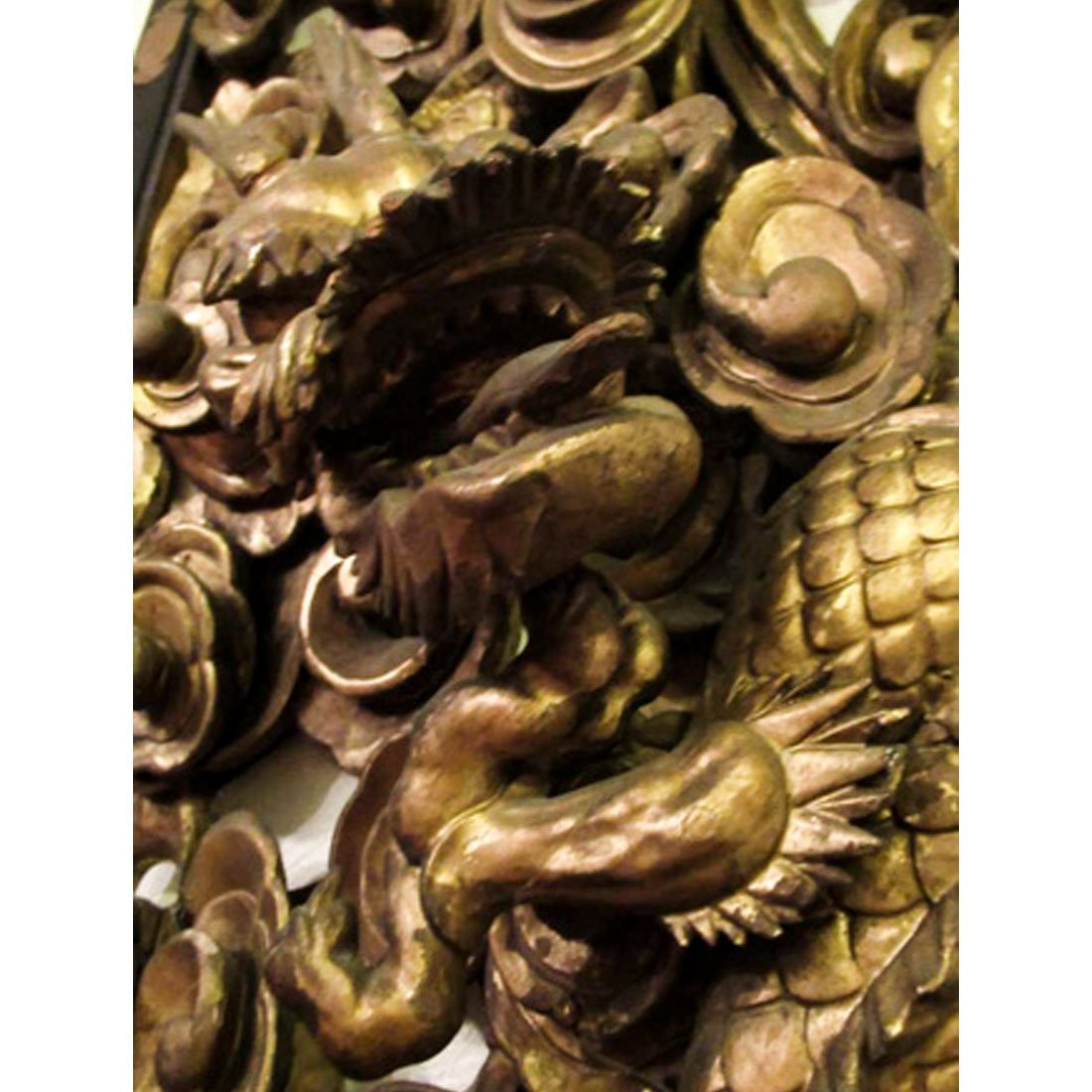 Chinese Gilt Carved Wooden Dragon Plaque - 10