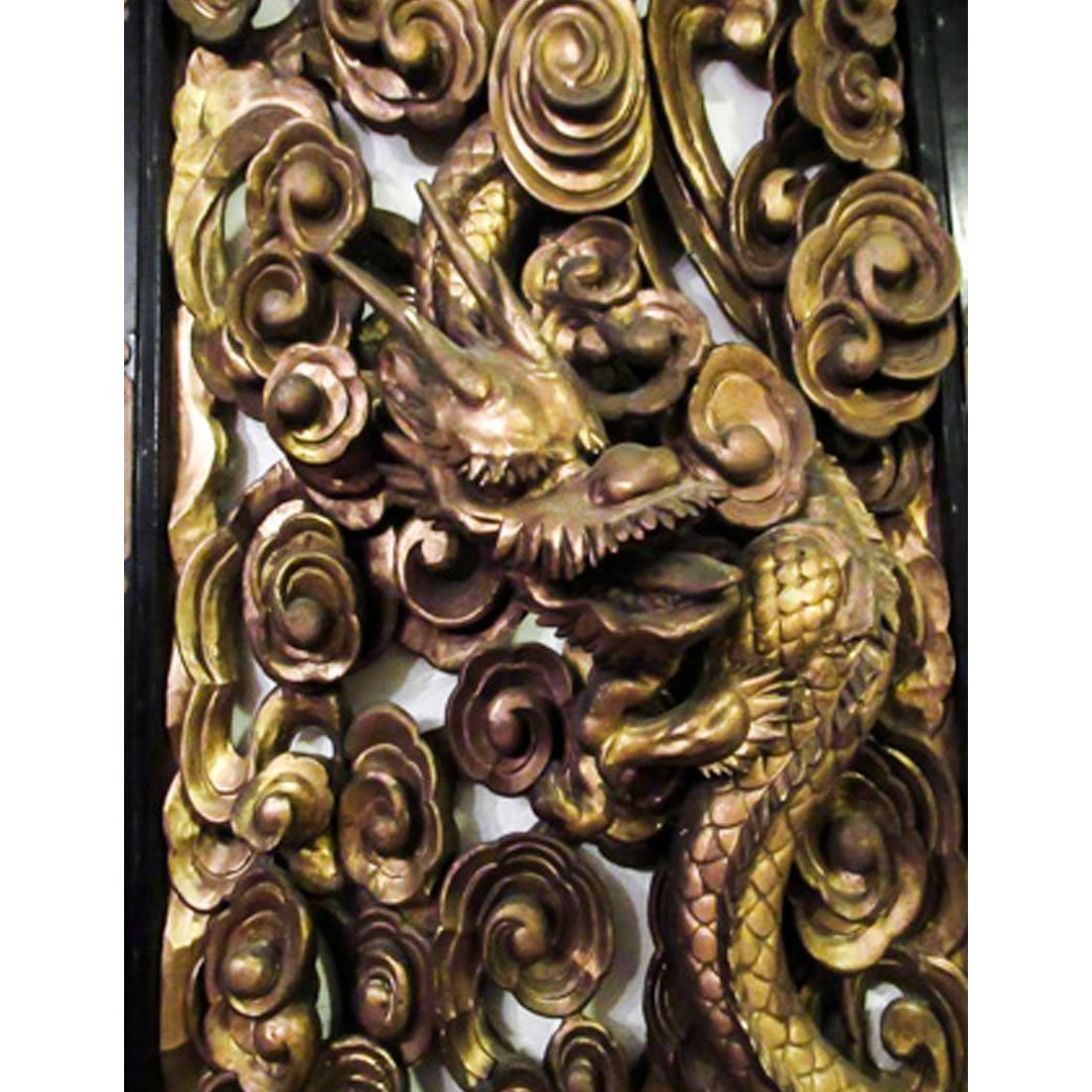 Chinese Gilt Carved Wooden Dragon Plaque