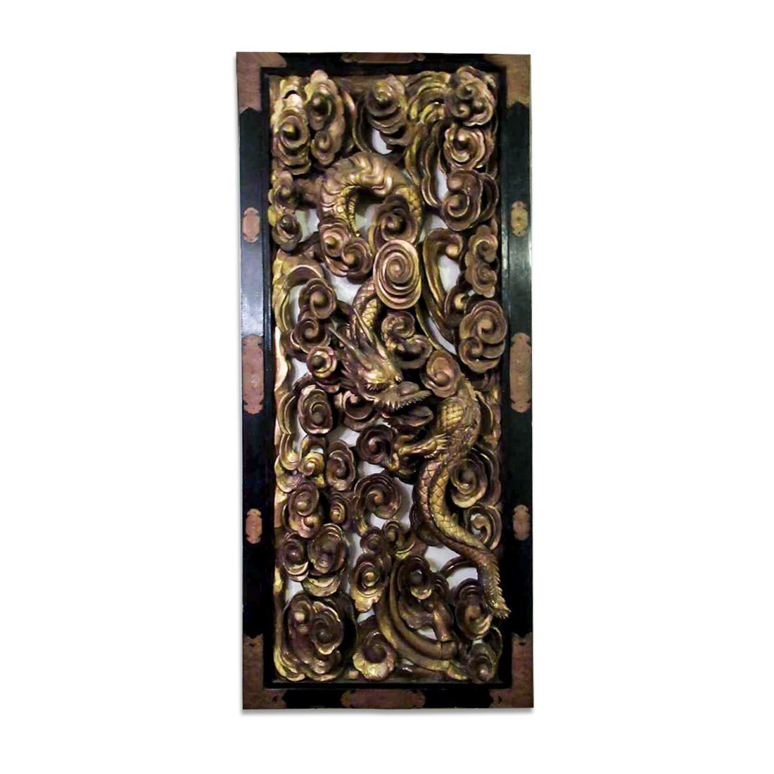 Chinese Gilt Carved Wooden Dragon Plaque - 2