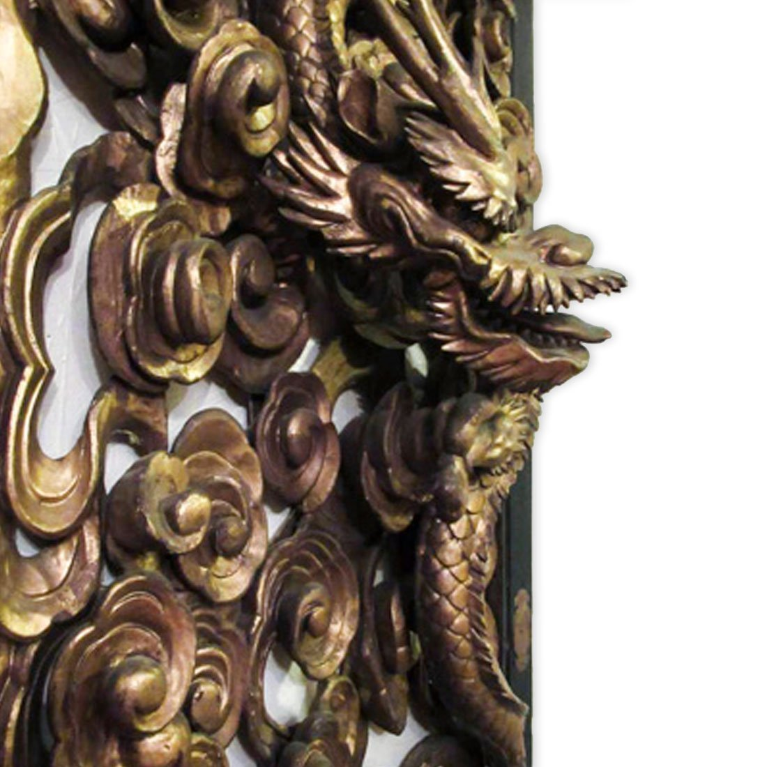 Chinese Gilt Carved Wooden Dragon Plaque - 3