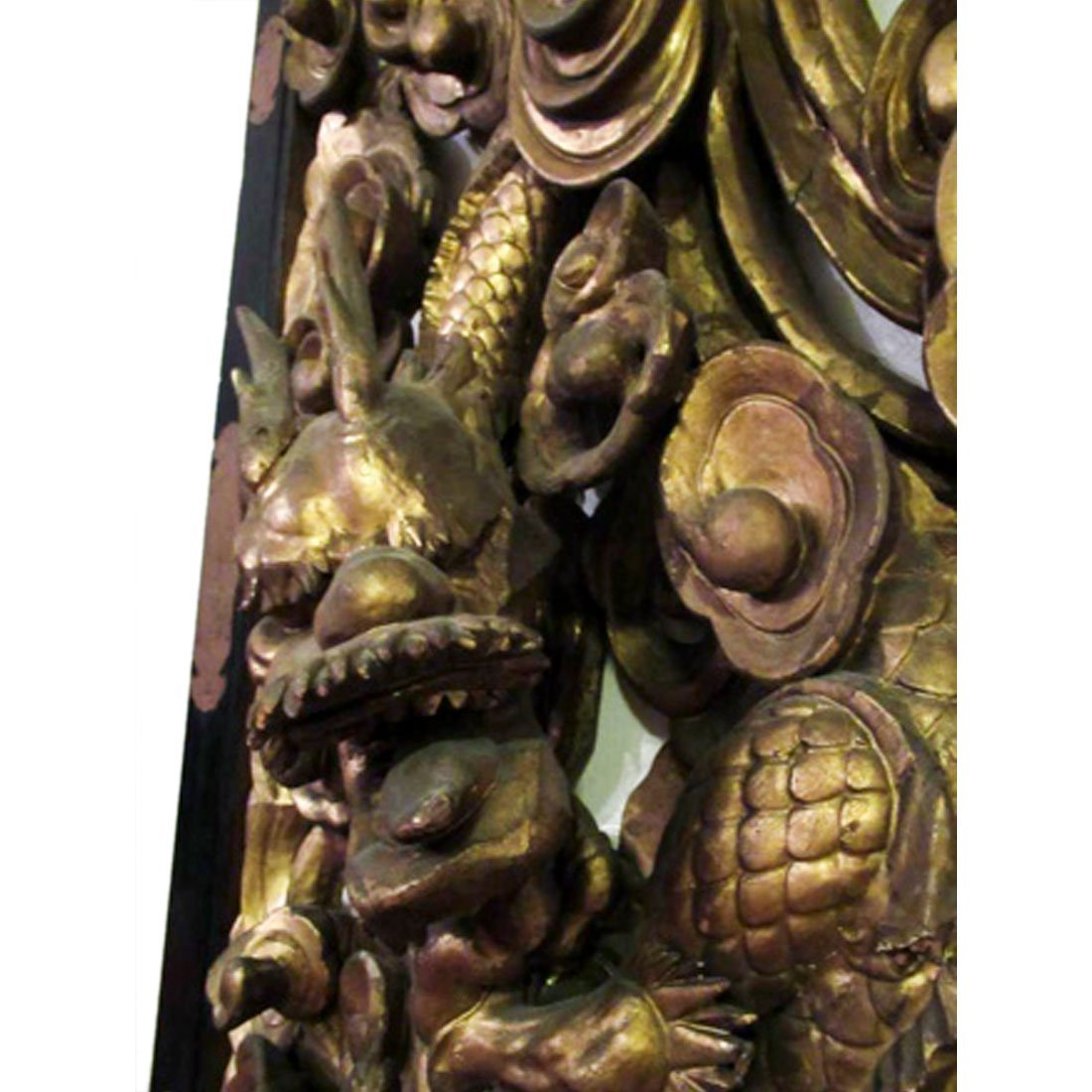 Chinese Gilt Carved Wooden Dragon Plaque - 9