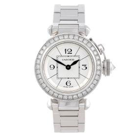CARTIER - a Pasha bracelet watch. 18ct white gold case