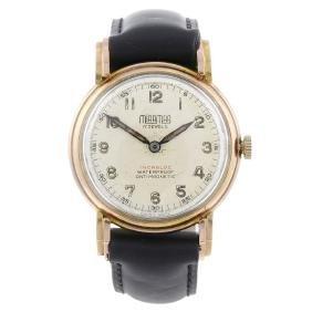 MIRAMAR - a gentleman's wrist watch. 9ct rose gold