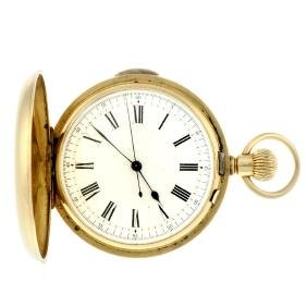 A full hunter repeater pocket watch. Yellow metal case