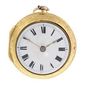 A pair case pocket watch by R.Ward. Yellow gold cases