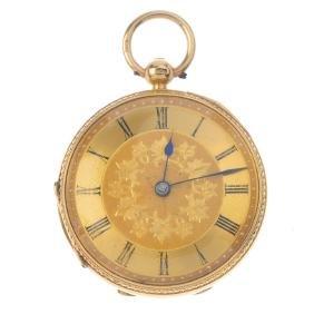 An open face pocket watch. 18ct yellow gold case,