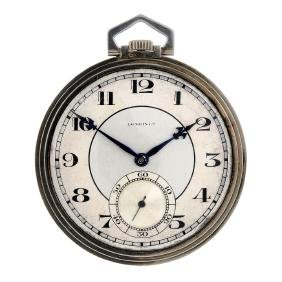 An open face pocket watch by Longines. White metal