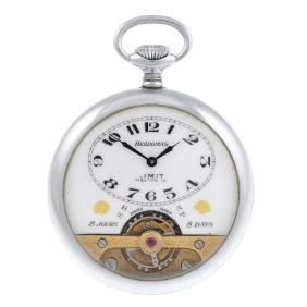 An open face eight day pocket watch by Hebdomas. Nickel