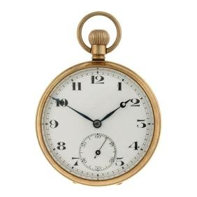 An open faced pocket watch. 9ct yellow gold case,