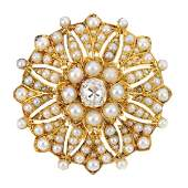 A late Victorian gold, diamond and split pearl brooch.