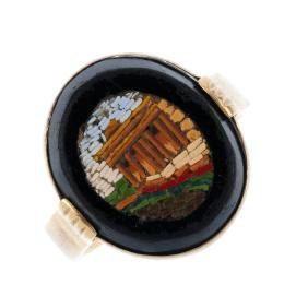A micro mosaic ring. The 19th century micro mosaic,