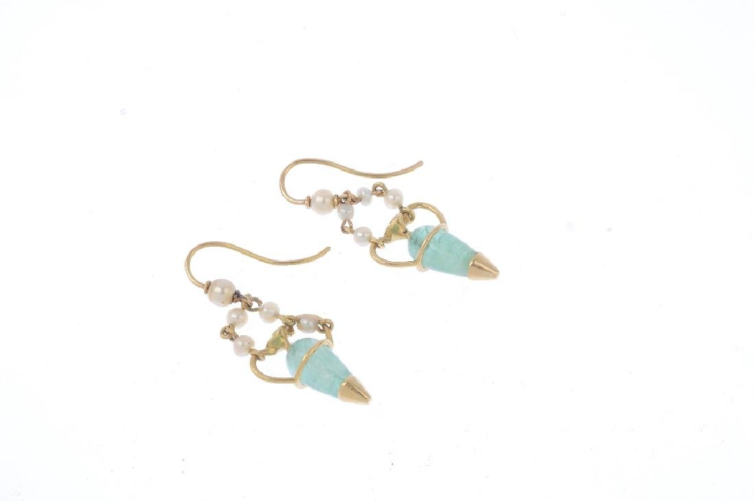 A pair of emerald, cultured and seed-pearl earrings. - 2