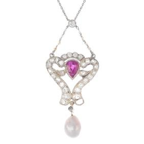 A diamond, ruby and natural pearl pendant. The pearl