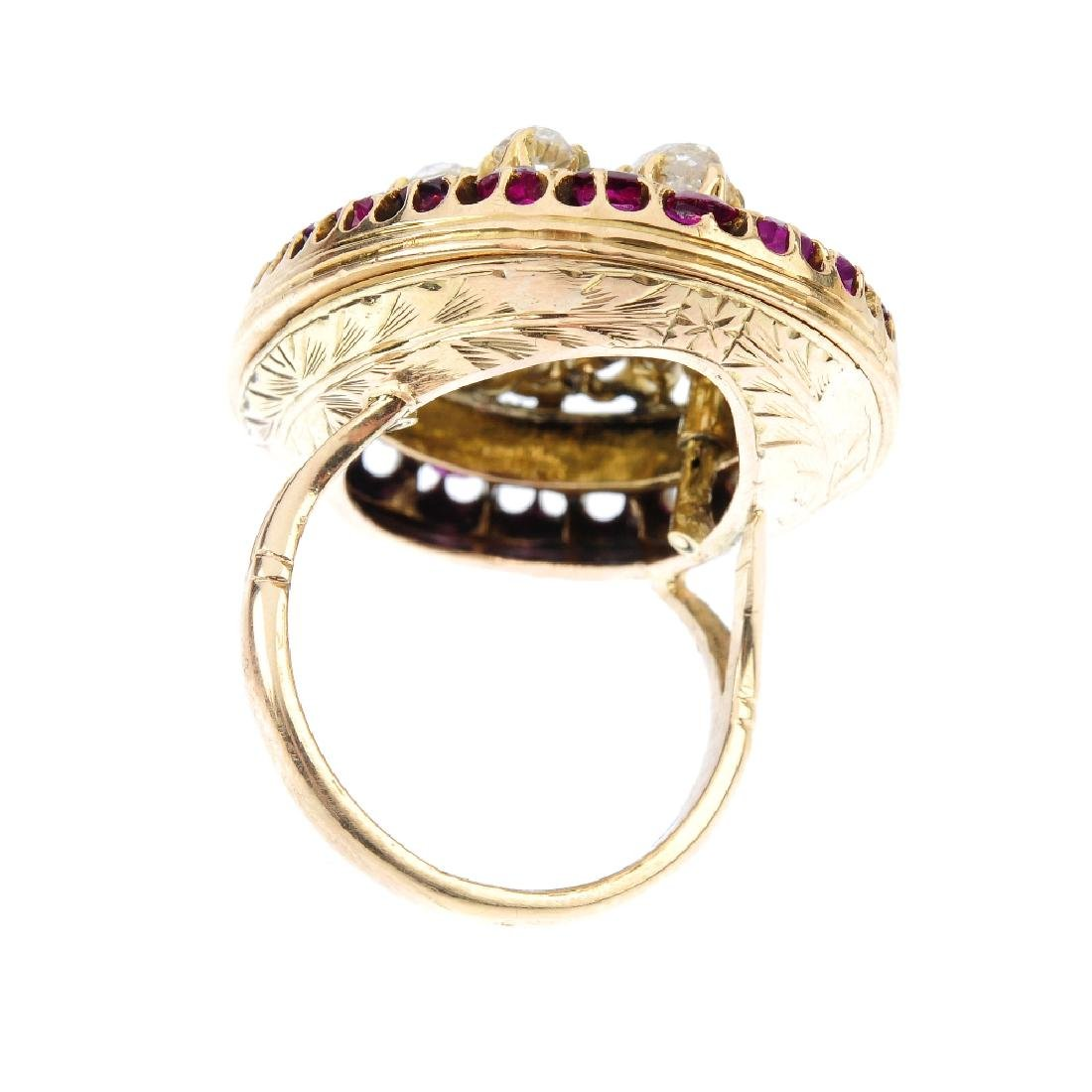 A diamond and ruby cluster ring. The vari-shape old-cut - 3