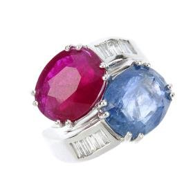 A Burma ruby and Burma sapphire crossover ring. The