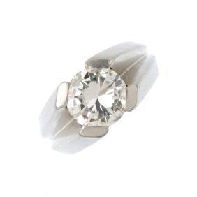 CARTIER - a platinum diamond single-stone ring. The