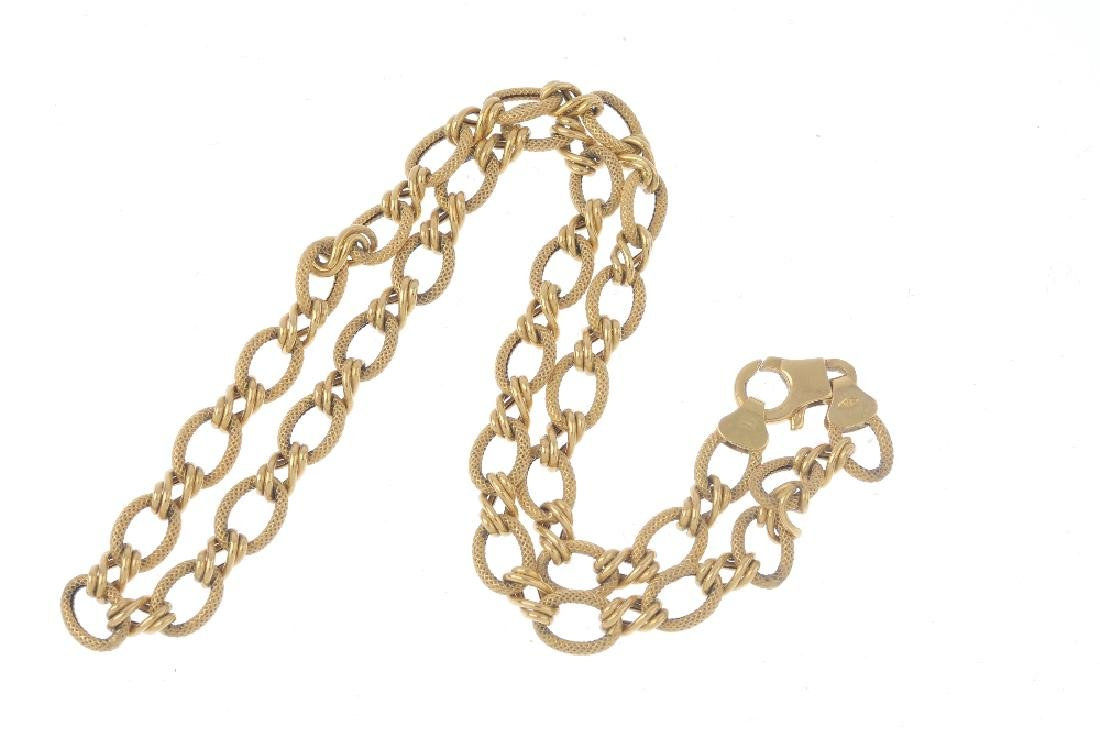 A fancy-link necklace. Designed as a series of textured - 2