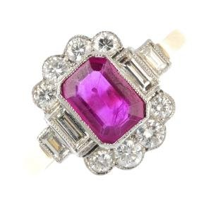 A ruby and diamond cluster ring. The rectangular-shape