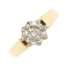 A laser-drilled diamond single-stone ring. The