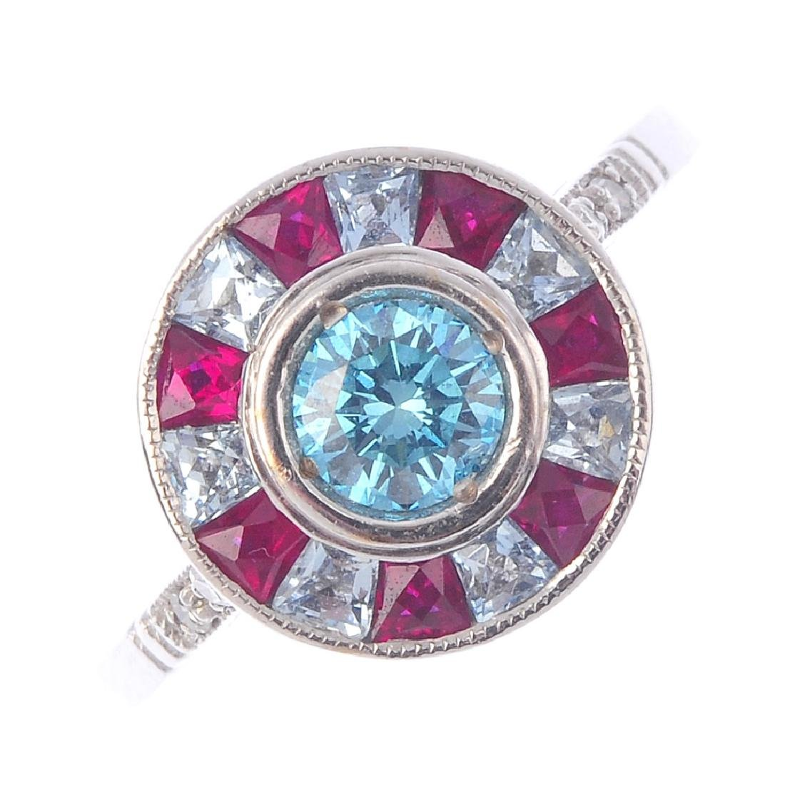 A 'coloured' diamond and gem-set cluster ring. The