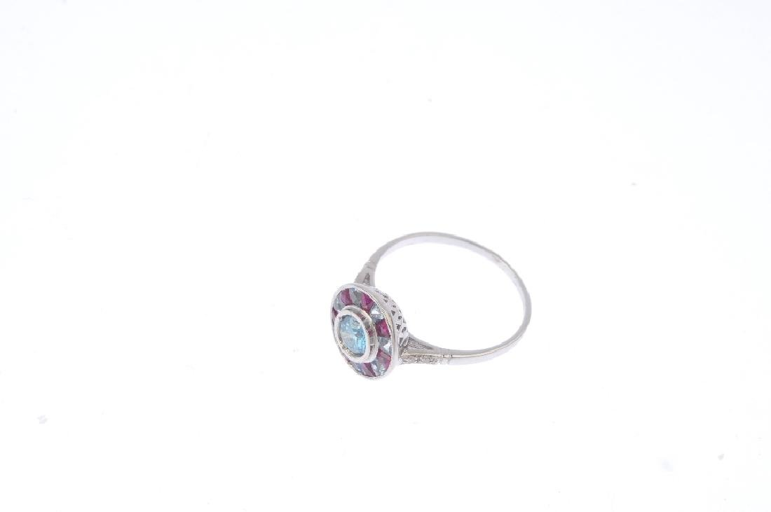 A 'coloured' diamond and gem-set cluster ring. The - 3