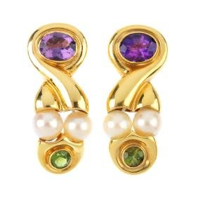 A pair of amethyst, peridot and cultured pearl