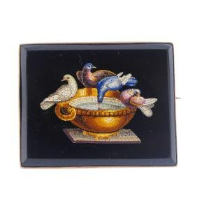 A late Victorian micro mosaic brooch. The rectangular