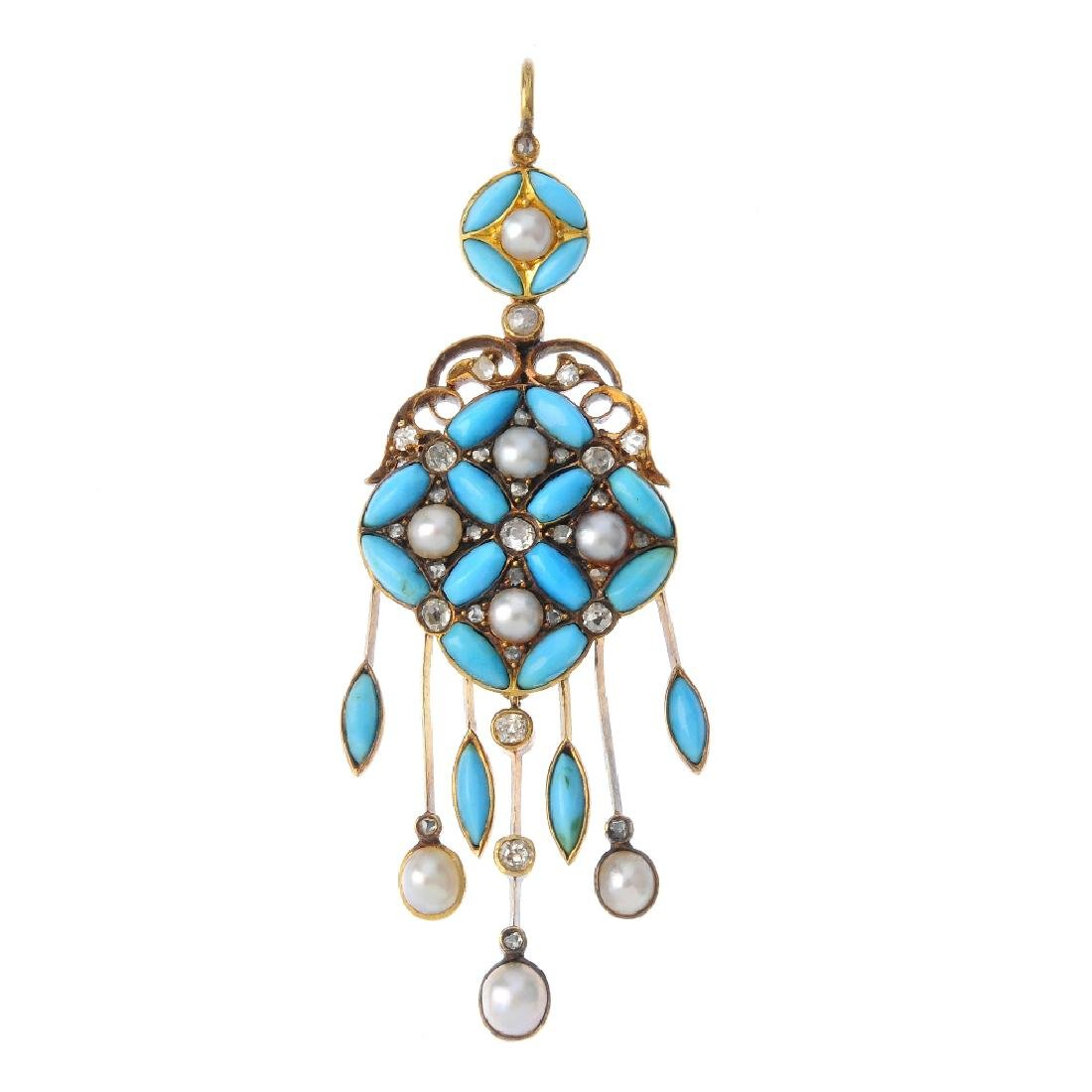 A mid Victorian gold, diamond and gem-set pendant,