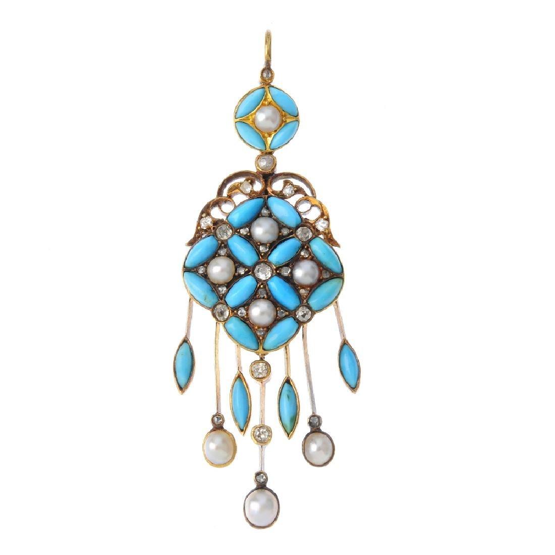 A mid Victorian gold, diamond and gem-set pendant,