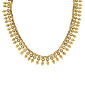 A late Victorian 18ct gold split pearl necklace, circa