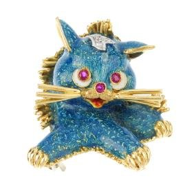 An 18ct gold enamel cat brooch. The blue enamel