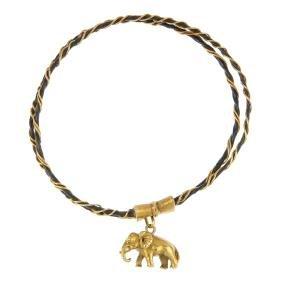 An elephant hair bangle. The elephant hair and wire