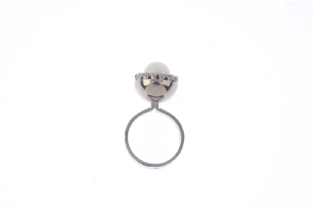 An 18ct gold cultured pearl and diamond ring. The - 2