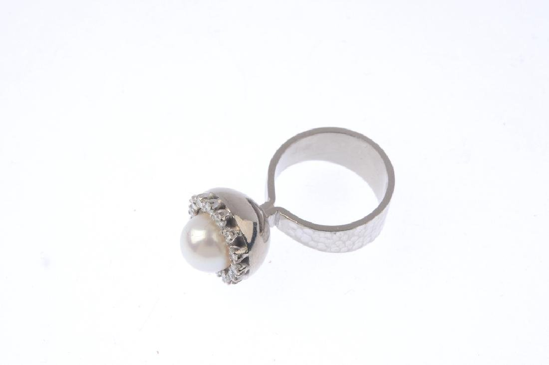 An 18ct gold cultured pearl and diamond ring. The - 3