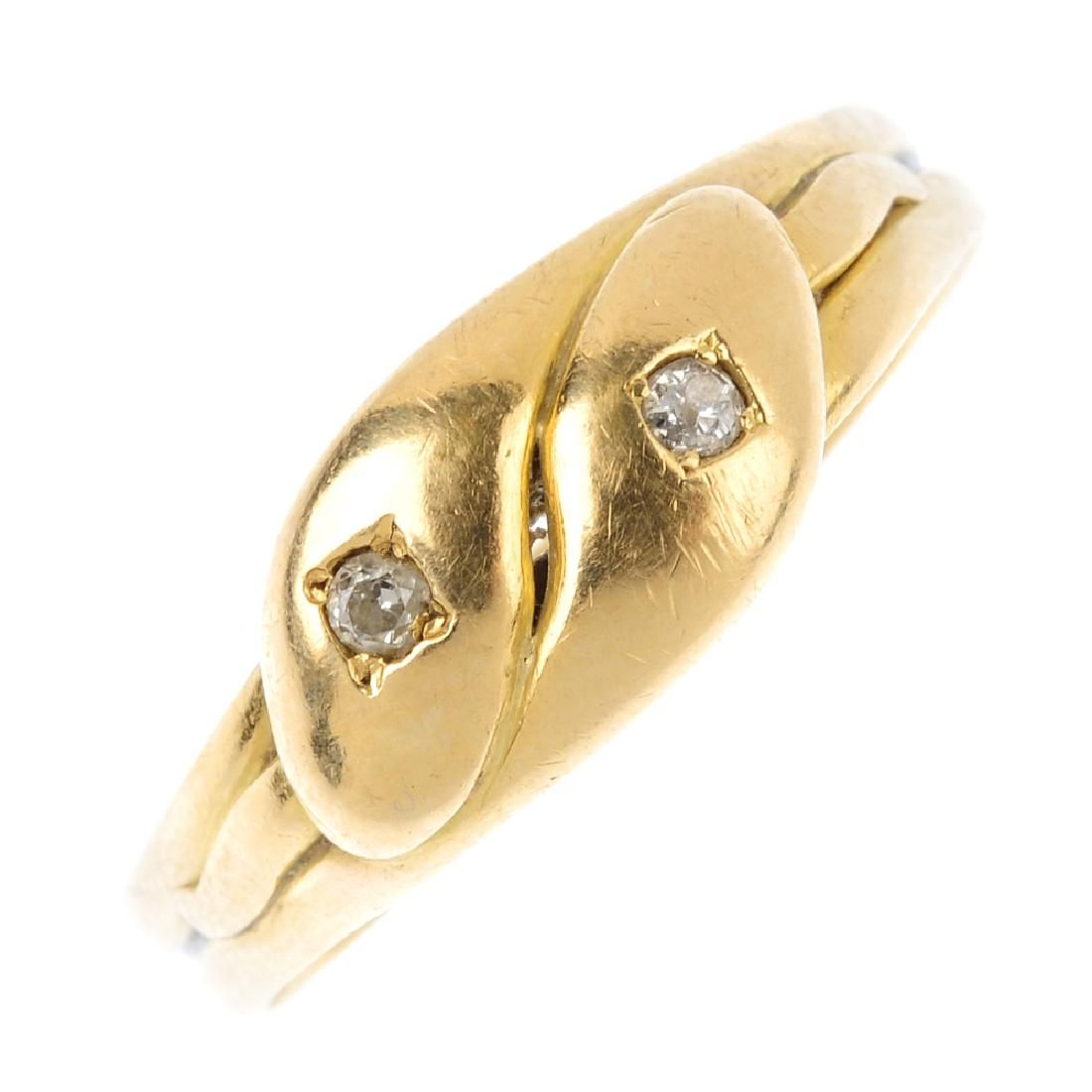 A late Victorian 18ct gold diamond band ring. Designed