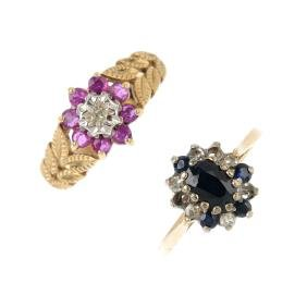 Two 9ct gold diamond and gem-set dress rings. To