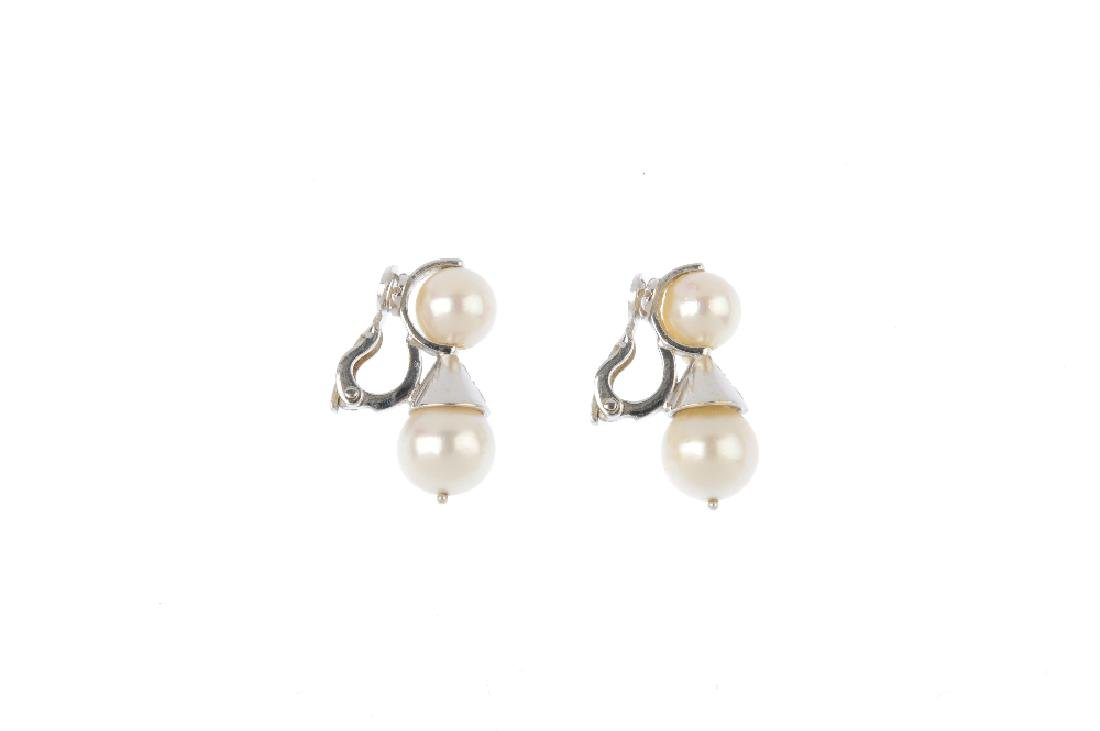 A pair of diamond and cultured pearl earrings. Each - 2