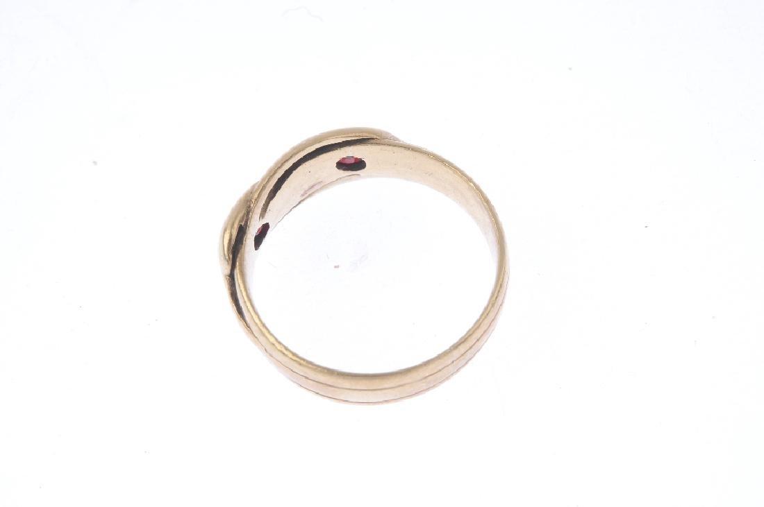 An early 20th century gold garnet snake ring. - 2