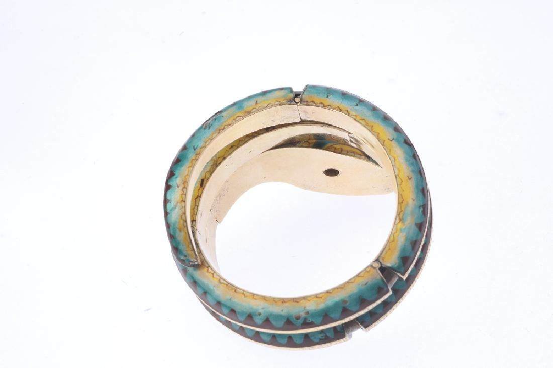 A diamond, ruby and enamel snake bangle. Of articulated - 3