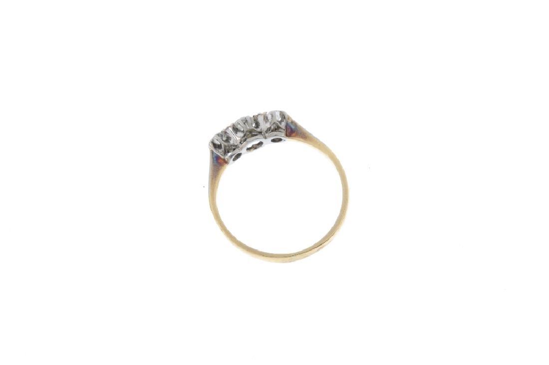 An early 20th century 18ct gold diamond three-stone - 2