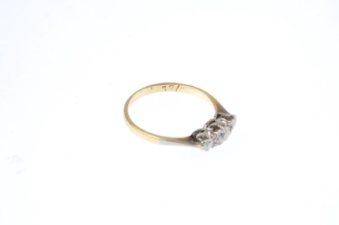 An early 20th century 18ct gold diamond three-stone - 3