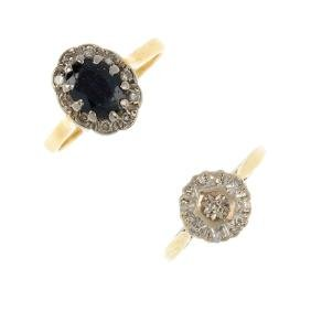 Two gem-set and diamond rings. To include an oval-shape