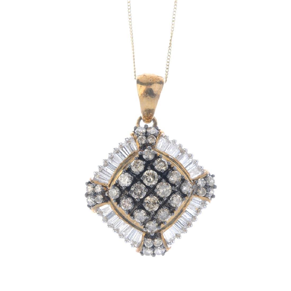 A 9ct gold diamond pendant. The brilliant-cut diamond