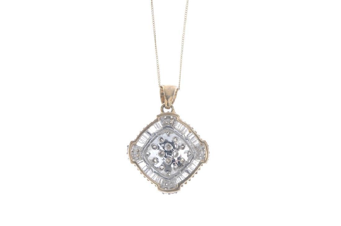 A 9ct gold diamond pendant. The brilliant-cut diamond - 2