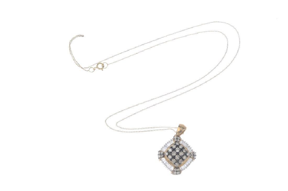 A 9ct gold diamond pendant. The brilliant-cut diamond - 3