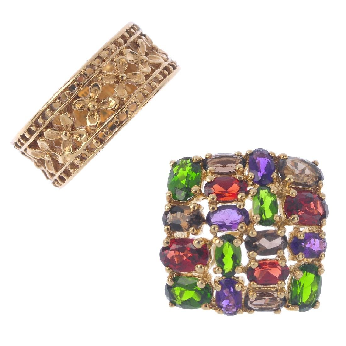 Two 9ct gold dress rings. To include a diopside,