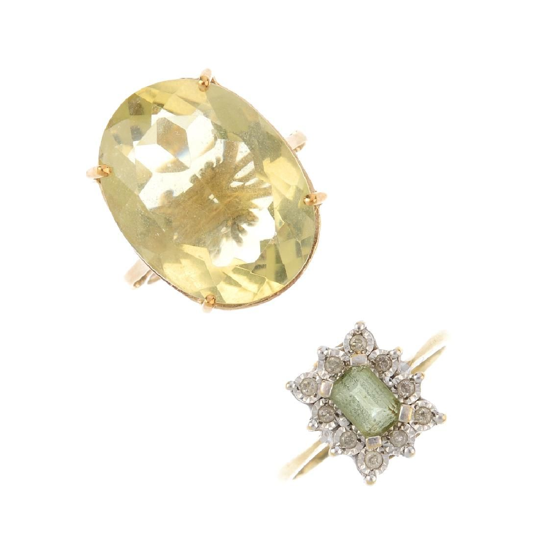 Two diamond and gem-set rings. To include a 9ct gold