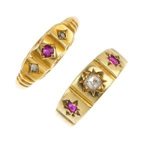 Two late Victorian 18ct gold ruby and diamond rings.