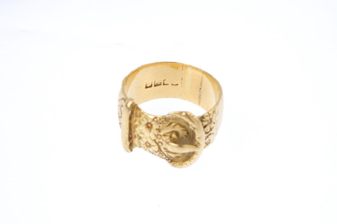 An early 20th century 18ct gold buckle ring. The floral - 3