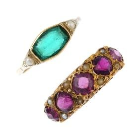 A mid Victorian 15ct gold gem-set ring and later